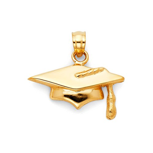 14K yellow gold graduation cap charm pendant at GoldenMine.com