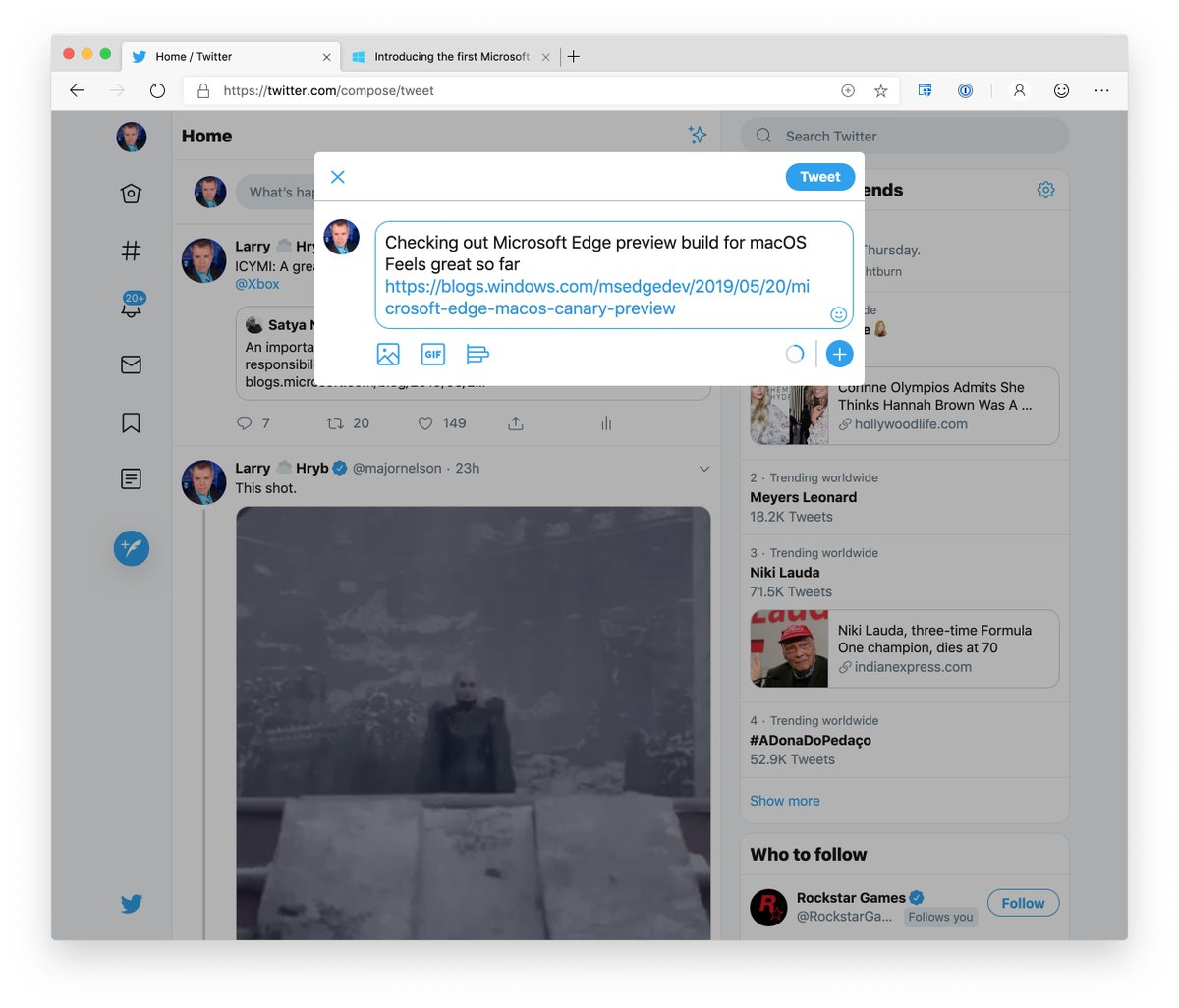 "Checking out Microsoft Edge preview build for macOS Feels great so far <a href=""https://blogs.windows.com/msedgedev/2019/05/20/microsoft-edge-macos-canary-preview"" rel=""nofollow"" target=""_blank"" title=""https://blogs.windows.com/msedgedev/2019/05/20/microsoft-edge-macos-canary-preview"">blogs.windows.com/msedgedev/2019…</a> https://t.co/G91rlLkAD1."