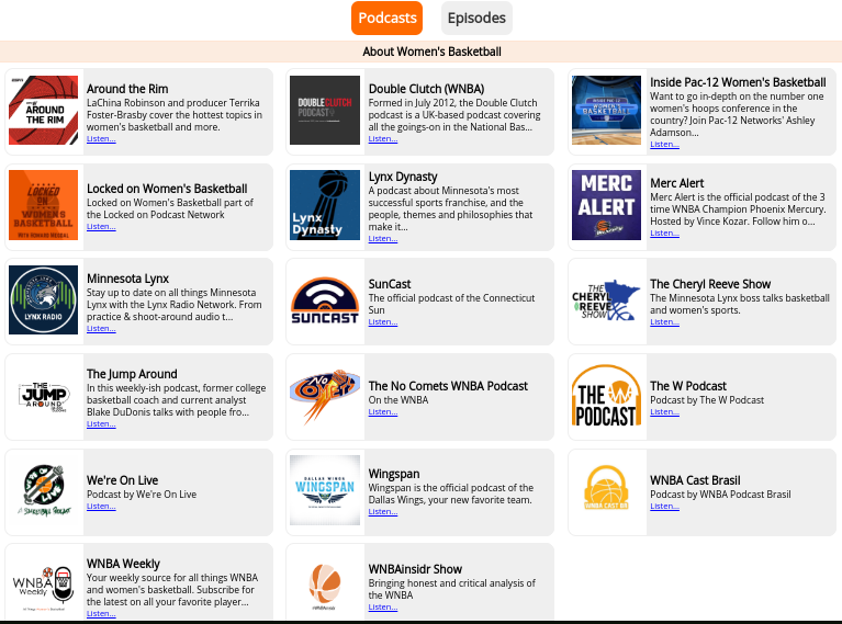 "Looking for @WNBA and WBB podcasts? Look no further than the Across the TImeline Podcasts page.  https://acrossthetimeline.com/wnba/podcasts.php …  ""Podcasts"" page shows pods about and from the world of WBB.  ""Episodes"" page shows miscellaneous podcast episodes featuring WBB guests and/or subject matter."