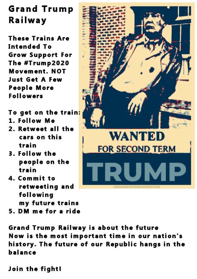 Grand Trump Railway Retweet, Follow All, DM To Get A Ride @TheSteveKon @monica_sassy @1PatriotRealtor @BotforTrump @jake777XXX @JanetMafGalea @MarcusRyanPhD @Mel5963Lively @WileyWonka59 @ShorePatriot @holliday_sharon @GeanineC @Godsgirl158 @GoofballGeorge @rdrhwke @lawyerluvsmma