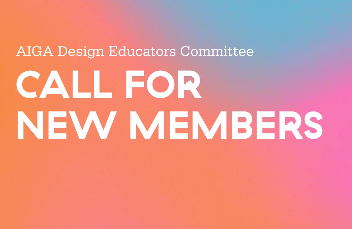 AIGA seeks 5 new dedicated educators and practitioners to provide service and leadership on its Design Educators Community Steering Committee (DEC). Nominations are being accepted for three-year positions starting 8/1/19. Applications are due 5/31. forms.gle/dhHxSK2Nz31Y1n…