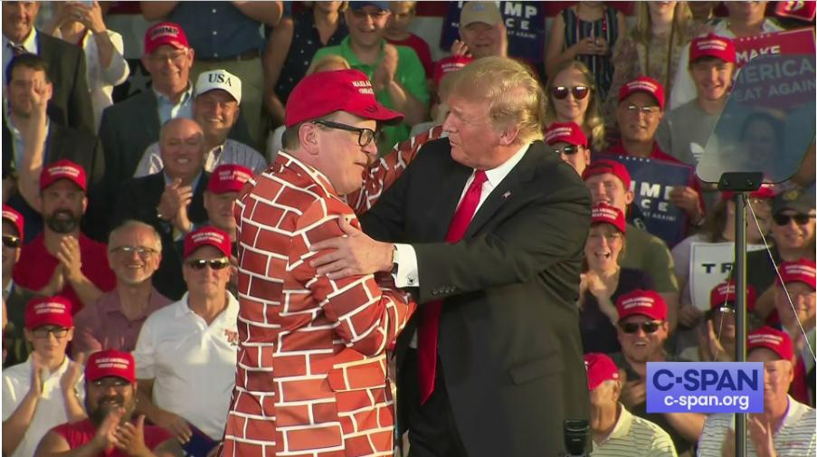 Trump #MAGA rally + brick wall suit   (h/t @nathanhurst