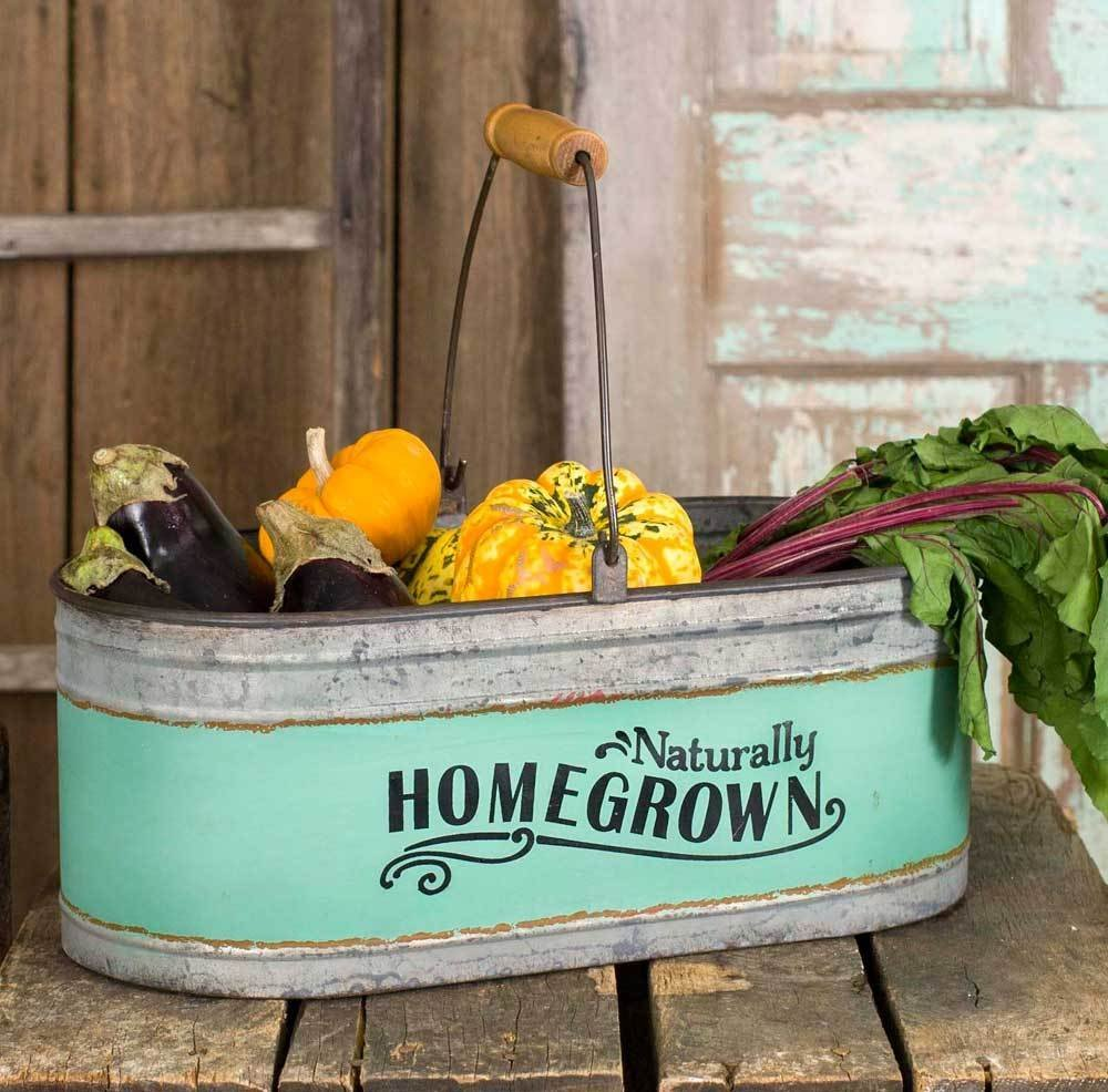 Homegrown long metal farmhouse style basket which is a perfect place to store your favorite fruits, vegetables, crafts or other supplies. #ad >>>>  https:// amzn.to/2WpTvbv     #farmhouse #springishere #DIY<br>http://pic.twitter.com/X1Sa7PiXa5