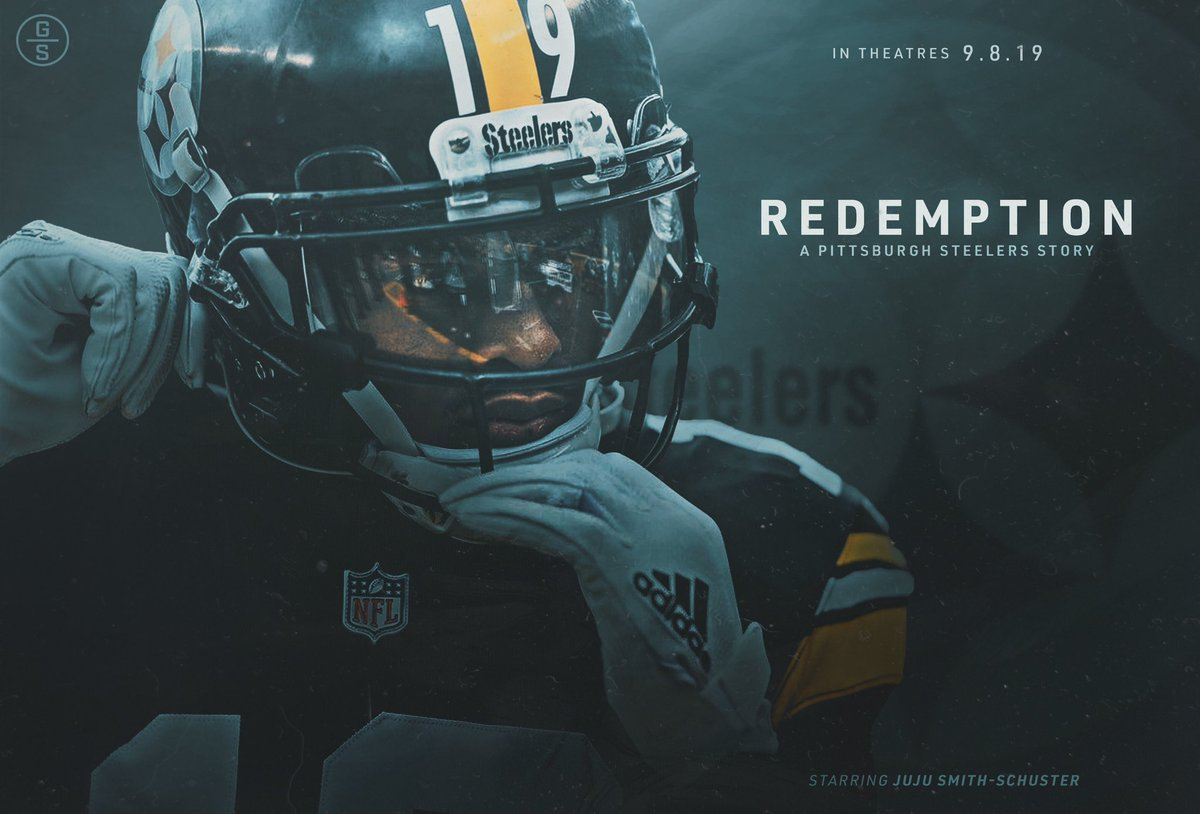 """Following up my initial movie cover, here is a poster for my """"Redemption"""" artwork series, featuring @TeamJuJu. This is all part of the buildup to the Steelers' 2019 season. A lot to look forward to, and I'm rly excited. Hope you guys like this! More to come... #Steelers #HereWeGo<br>http://pic.twitter.com/FNaZbeQBJz"""