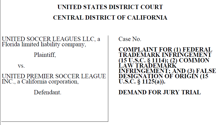 Last week, USL filed what seems to me to be an important trademark infringement complaint against UPSL.  It's worth taking a few moments to understand its significance in the overall scheme of the US Soccer landscape