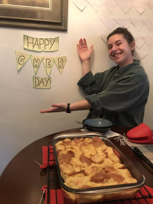 Happy birthday we made you bread pudding