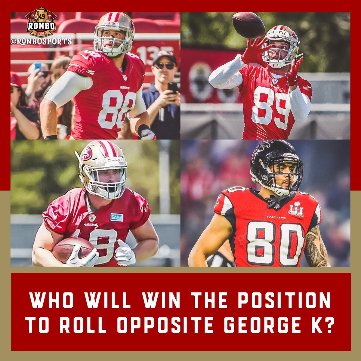 Last year the no.2 TE position was Garrett Celek's to lose. This year the #49ers have added Kaden Smith draft pick from from Stanford, Ross Dwelley is in the mix & recently acquired Levine Toilolo wants the spot. Who will it be?