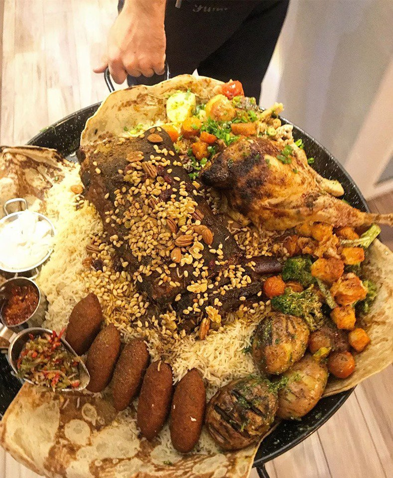 Just another day for chef Lena from my hometown #Isfiya at Reef Restaurant Cafe #Druze food. Can you believe they delver this to your home?!