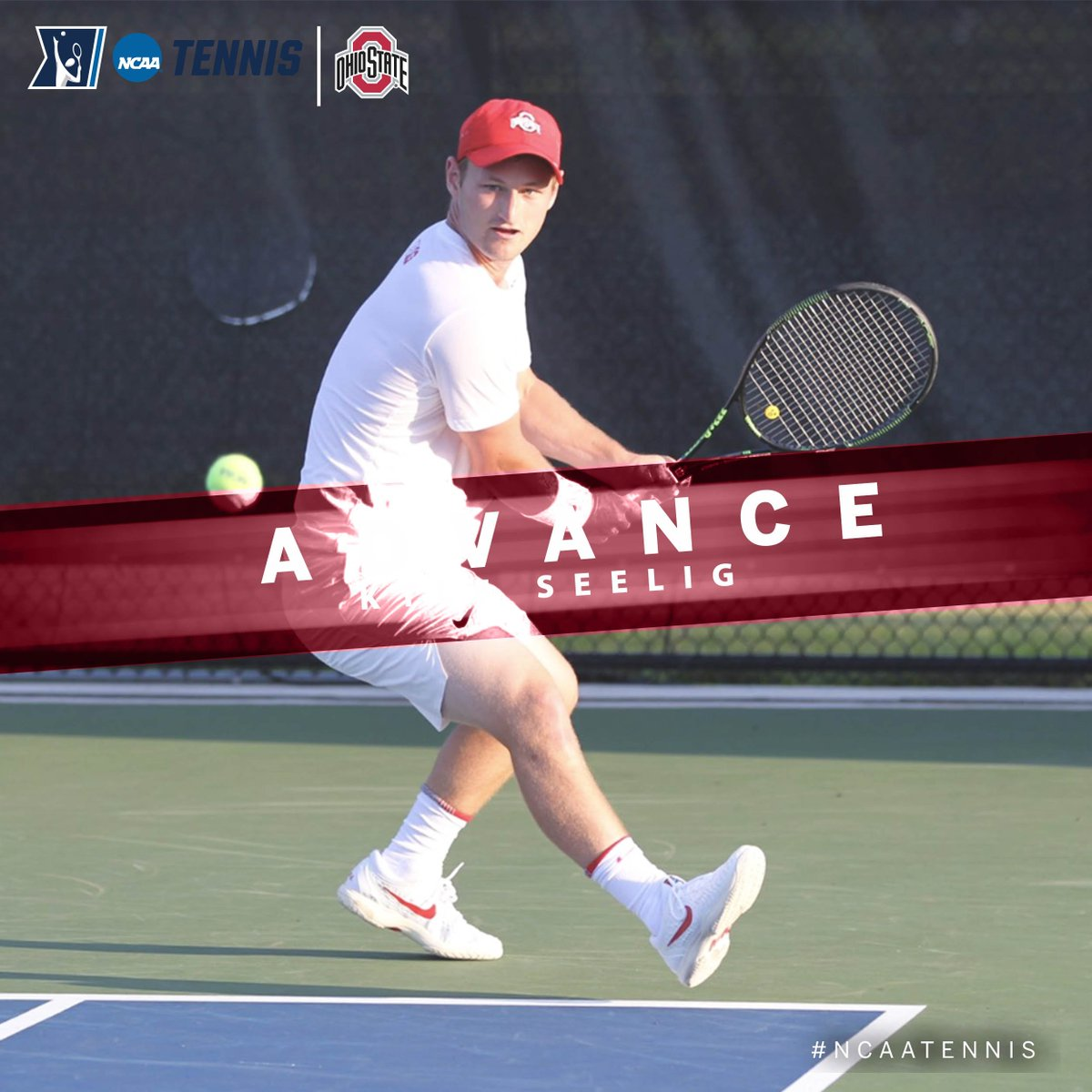 On the men's side at the @NCAATennis Singles First Round, Kyle Seelig of @OhioStateMTEN defeated Alastair Gray of TCU, 6-4, 6-2, to move on to the Second Round. #B1GMTennis