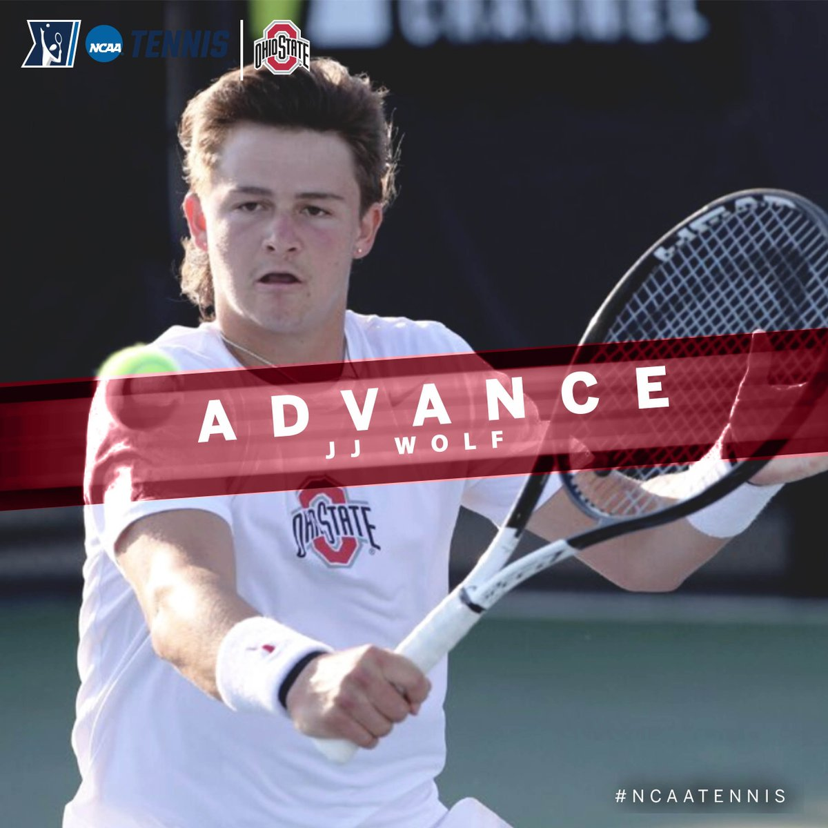 #Buckeyes teammate JJ Wolf, the No. 2 seed, topped Adria Barrera of Miami, Fla., 6-2, 6-3 in the @NCAATennis First Roud of the Singles Championship on Monday in Orlando. #B1GMTennis