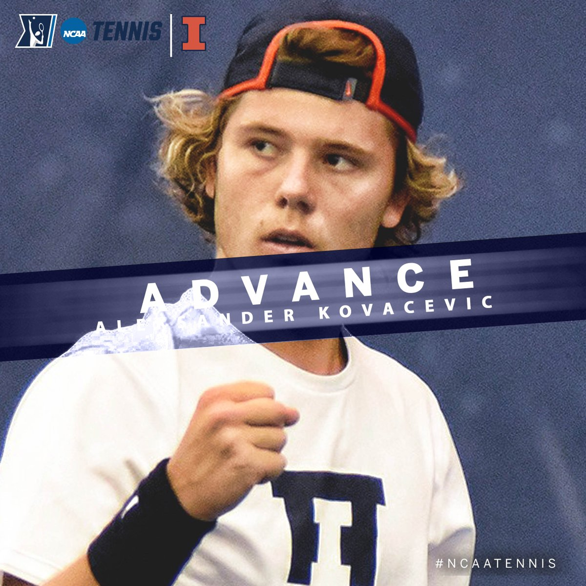 Aleksander Kovacevic of @IlliniMTennis advanced to the @NCAATennis Second Round after a6-3, 6-3 victory over Guanarteme Nuez, UT Arlington. #B1GMTennis