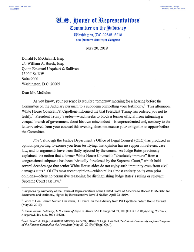 NEW: Chairman @RepJerryNadler response letter to former White House counsel Don McGahn.   https://judiciary.house.gov/sites/democrats.judiciary.house.gov/files/documents/Nadler%20Response%20letter%20to%20McGahn%205.20.19.pdf …