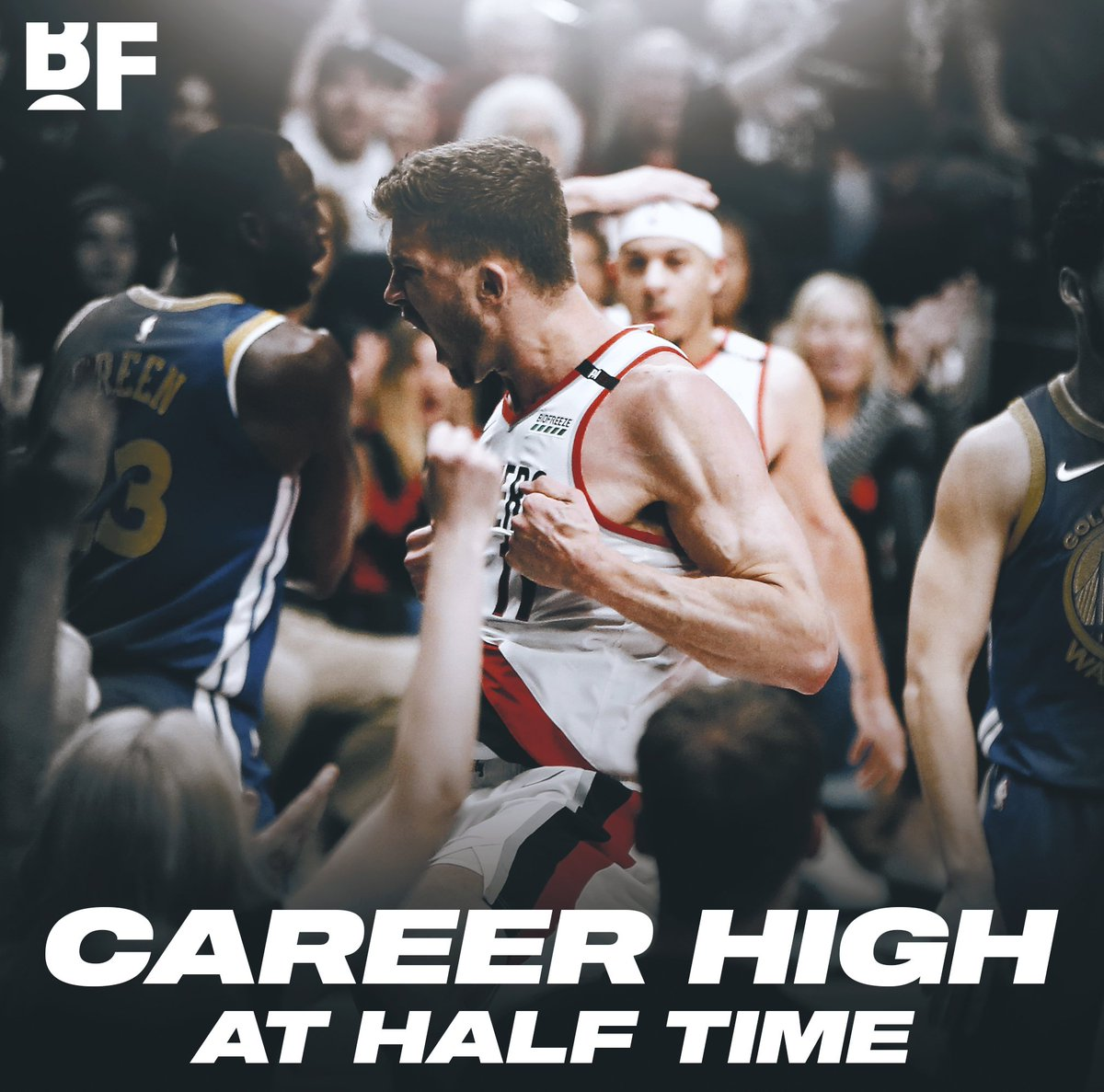 . @MeyersLeonard11 already has a CAREER HIGH 25 points, in the 1st half, against the BEST team in the world!
