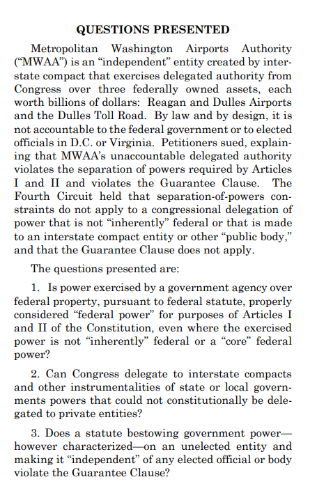 The Supreme Court has asked the U.S. government to respond to a cert. petition challenging the constitutionality of the Metropolitan Washington Airports Authority--the independent entity that operates both DC airports &amp; the Dulles toll road.   https://www. supremecourt.gov/search.aspx?fi lename=/docket/docketfiles/html/public/18-1240.html &nbsp; … <br>http://pic.twitter.com/jlw6LXJitl
