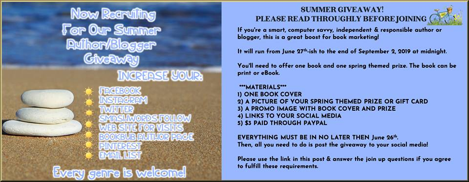 Exciting #Opportunity! #Summer #Giveaway Signup!  https://mistralkdawn.blogspot.com/2019/06/exciting-opportunity-summer-giveaway.html…  #SignUp  #indieauthors  #promotion  #opportunities #IndieBooksBeSeen  #Authors  #bloggers