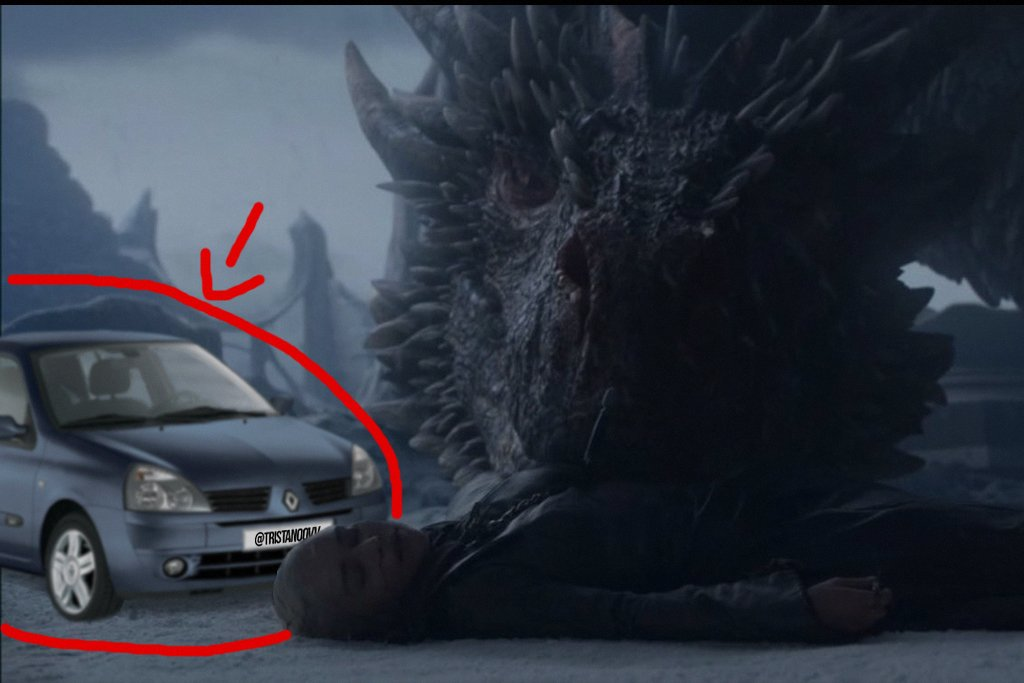 LMAOOO I CAN'T BREATHE THEY DID IT AGAIN  First Starbucks now a renault clio 2 this show is a joke #GameOfThrones #GameOfThronesFinale #TheFinalEpisode <br>http://pic.twitter.com/o7S2Yy53JH