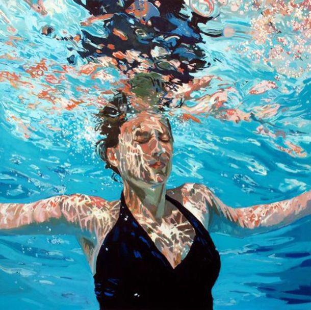 underwater painting of people by houston - 639×638