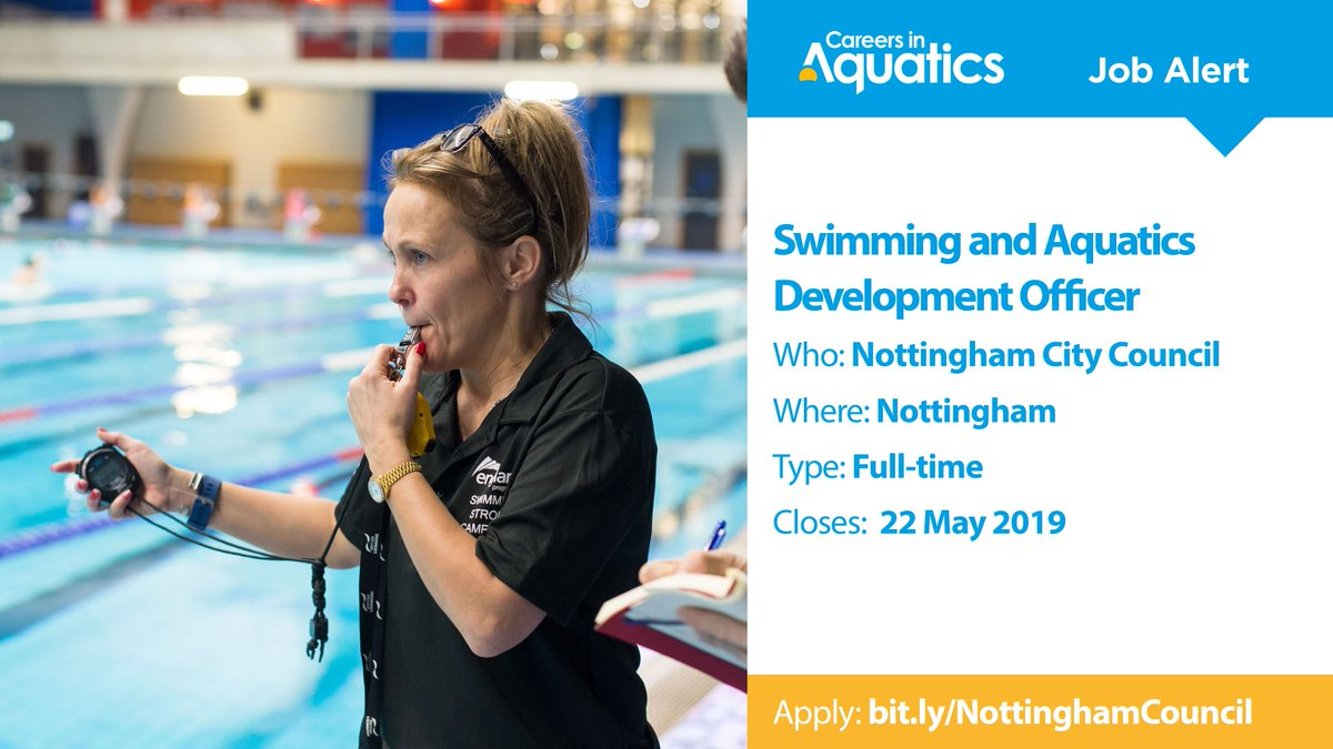 Job Alert | Qualified Swimming and Aquatics Development Officer needed by Nottingham City Council in Nottingham. Applications close tomorrow so get yours in before it's too late.Closes: 22 MayApply: http://bit.ly/NottinghamCouncil…