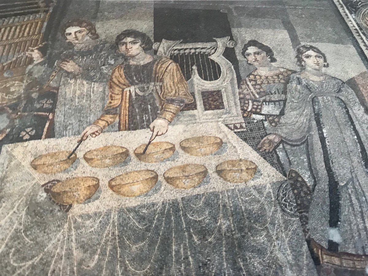 A #Roman #Mosaic from the Hama museum #Syria from my visit in 1993.  I hope it is still there. It shows female musicians playing various instruments at a banquet.