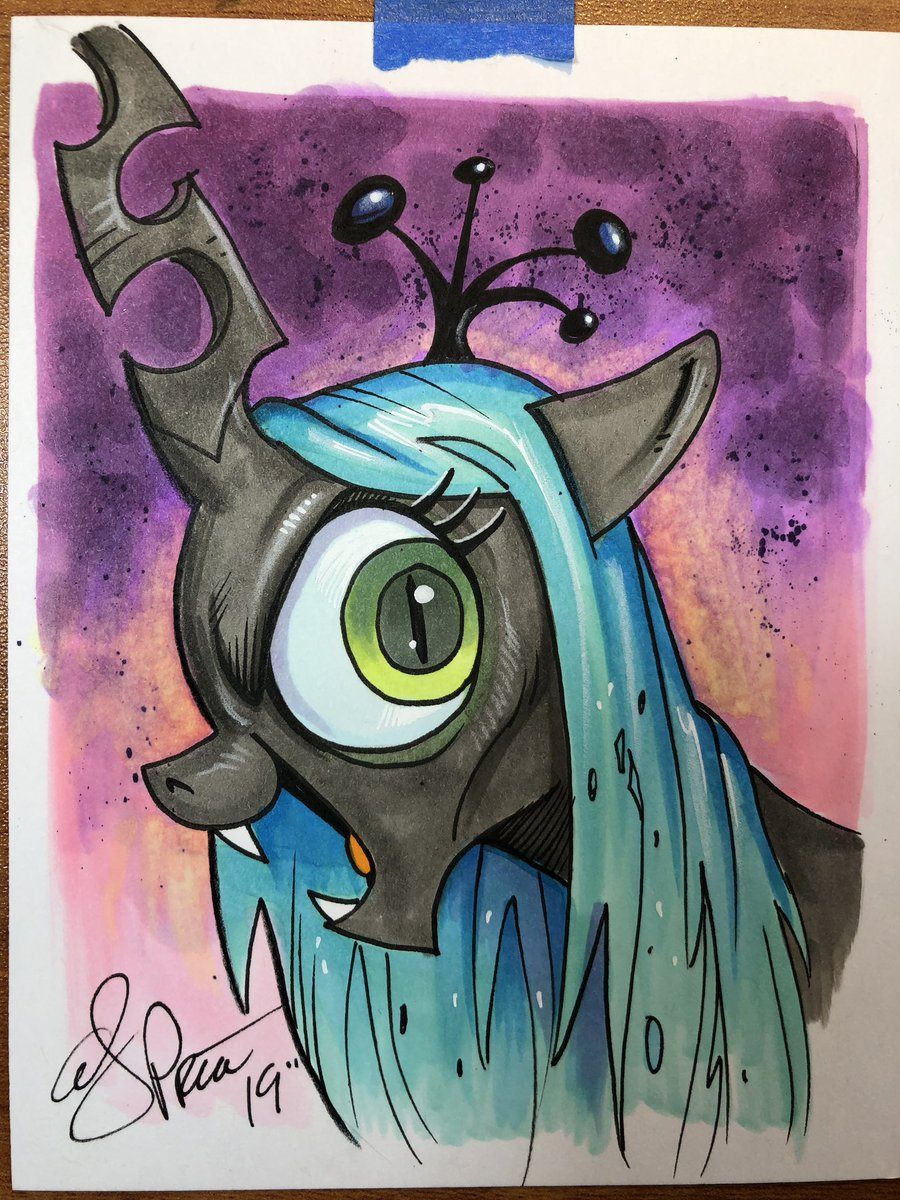 Little 4x5 Chrysalis sketch bound for @MCMComicCon in London! #mlp <br>http://pic.twitter.com/AaWrQRTGGC