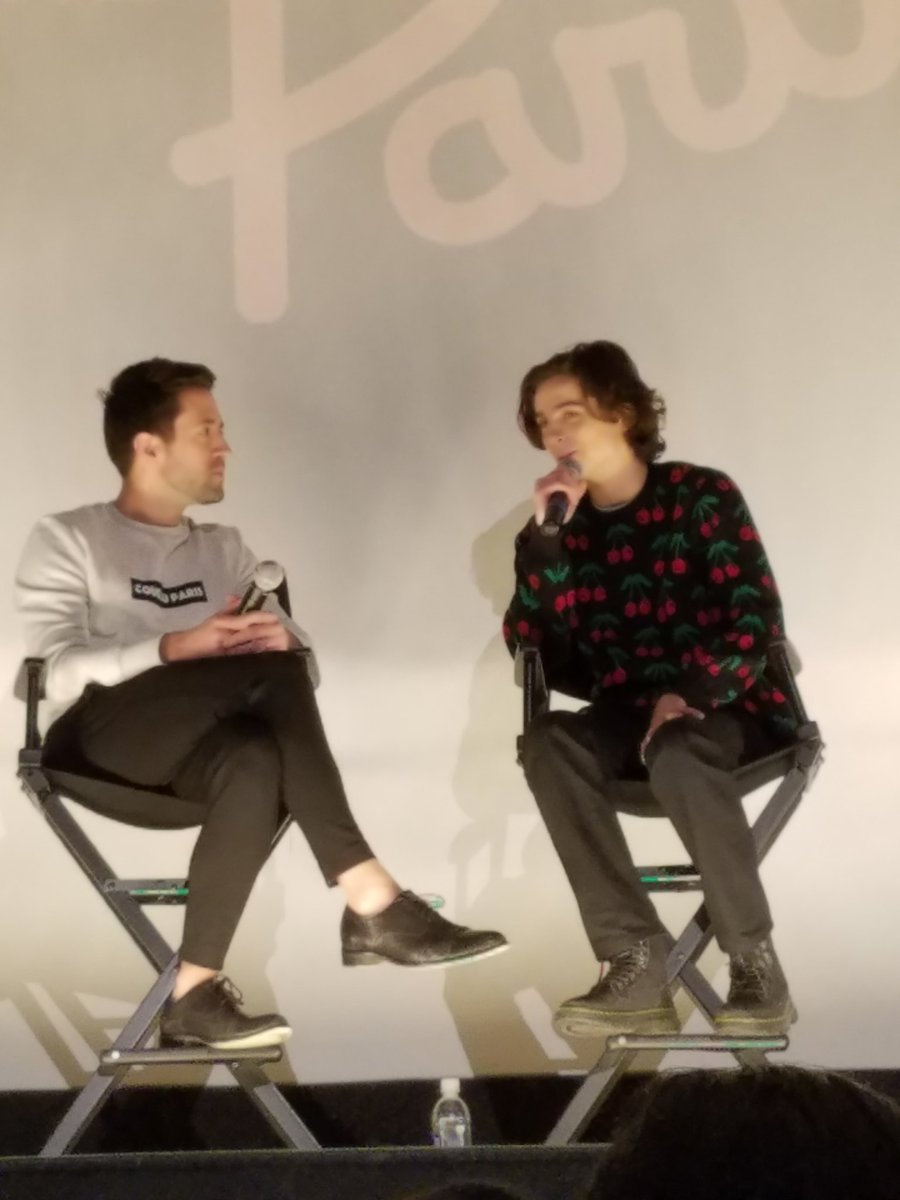 I can't seem to find my own @RealChalamet pix from the same Regal Union Square Q&A for #CMBYN. But I did find this, from the 1st Paris Theater Q&A in December 2017. Not as good as yours, Robert! But Timmy wearing his iconic cherry sweater. 😁 Great memories of those #NYC Q&As!