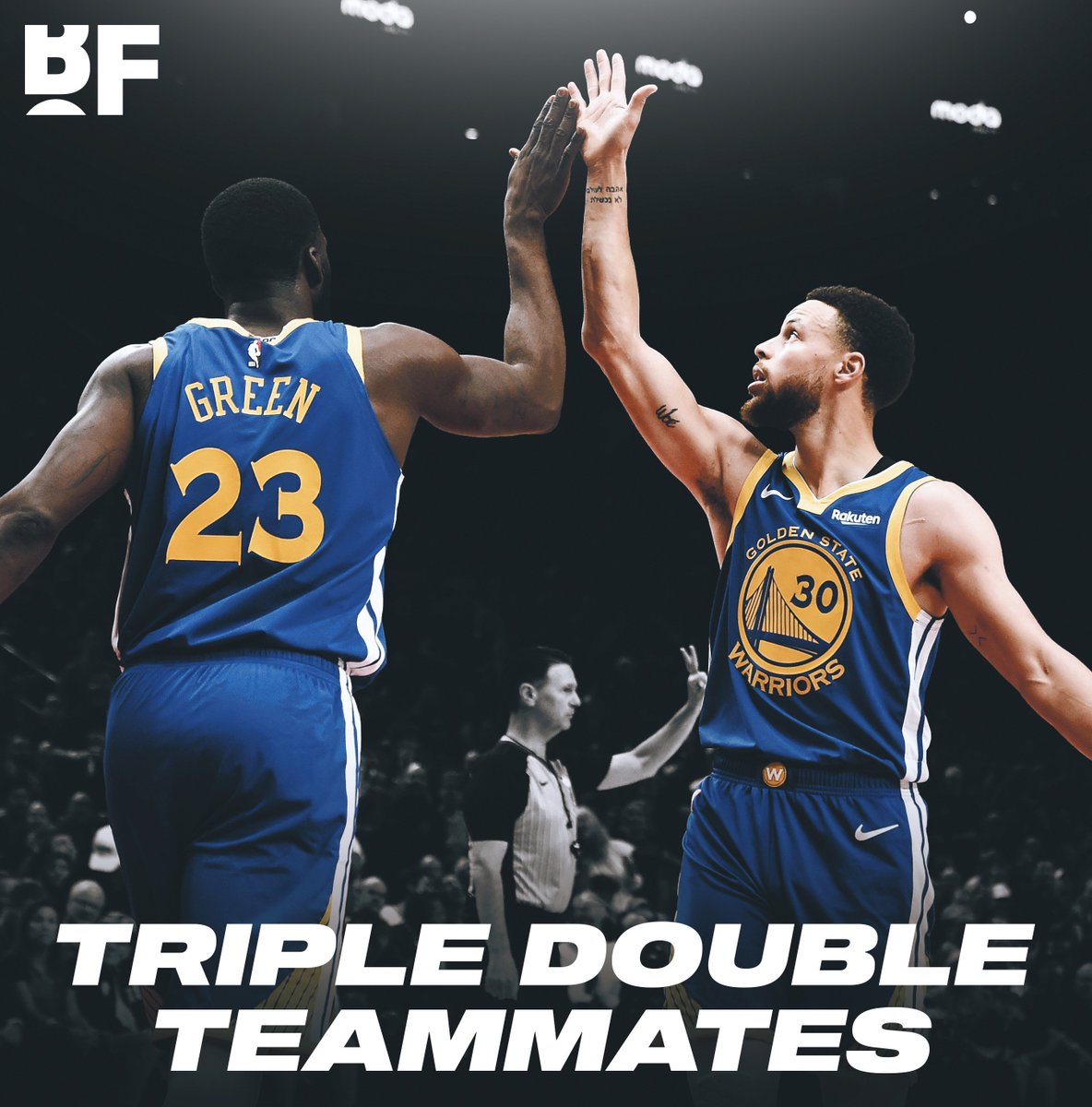 . @StephenCurry30 & @Money23Green are the FIRST teammates in @NBA playoff history to record triple doubles in the same game!