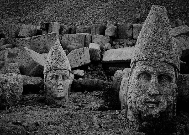 Heads at Mount Nemrut, date unknown. #Turkey.