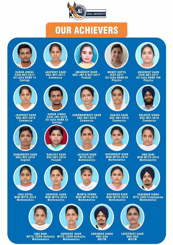 Young Achievers of Akal University, Guru Ki Kashi Talwandi Sabo Bathinda, who have soared high with their outshining performances!  http://bit.ly/2VODzDI
