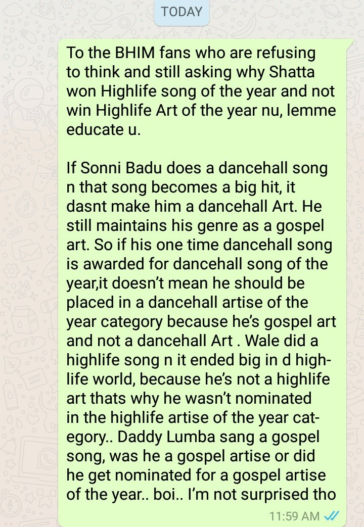 To the Bhim fans who are refusing to think  and still asking why @shattawalegh won highlife song of the year and not win highlife art of the year nu lemme educate you.<br>http://pic.twitter.com/ezGFomtFsC