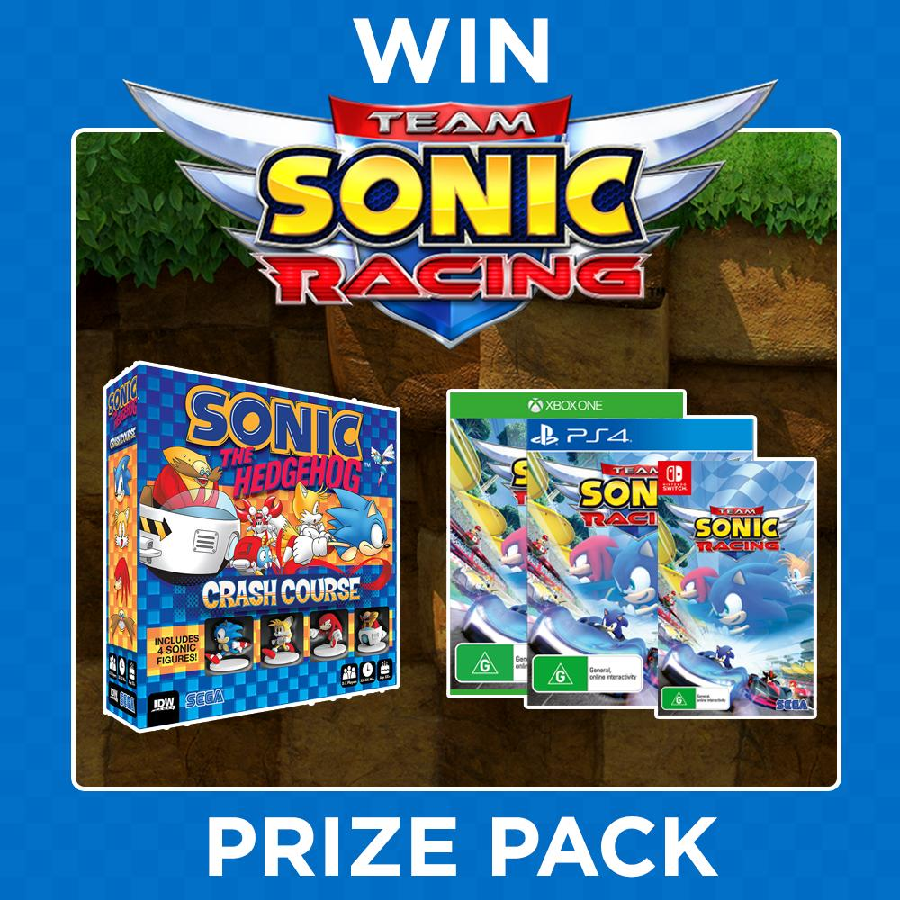To celebrate the release of Team Sonic Racing, we're giving away this awesome Sonic the Hedgehog Prize Pack!  Like and RT for your chance to WIN a copy of the game on the platform of your choice, and a Sonic the Hedgehog: Crash Course Board Game!  Runner-up prizes also to be won!