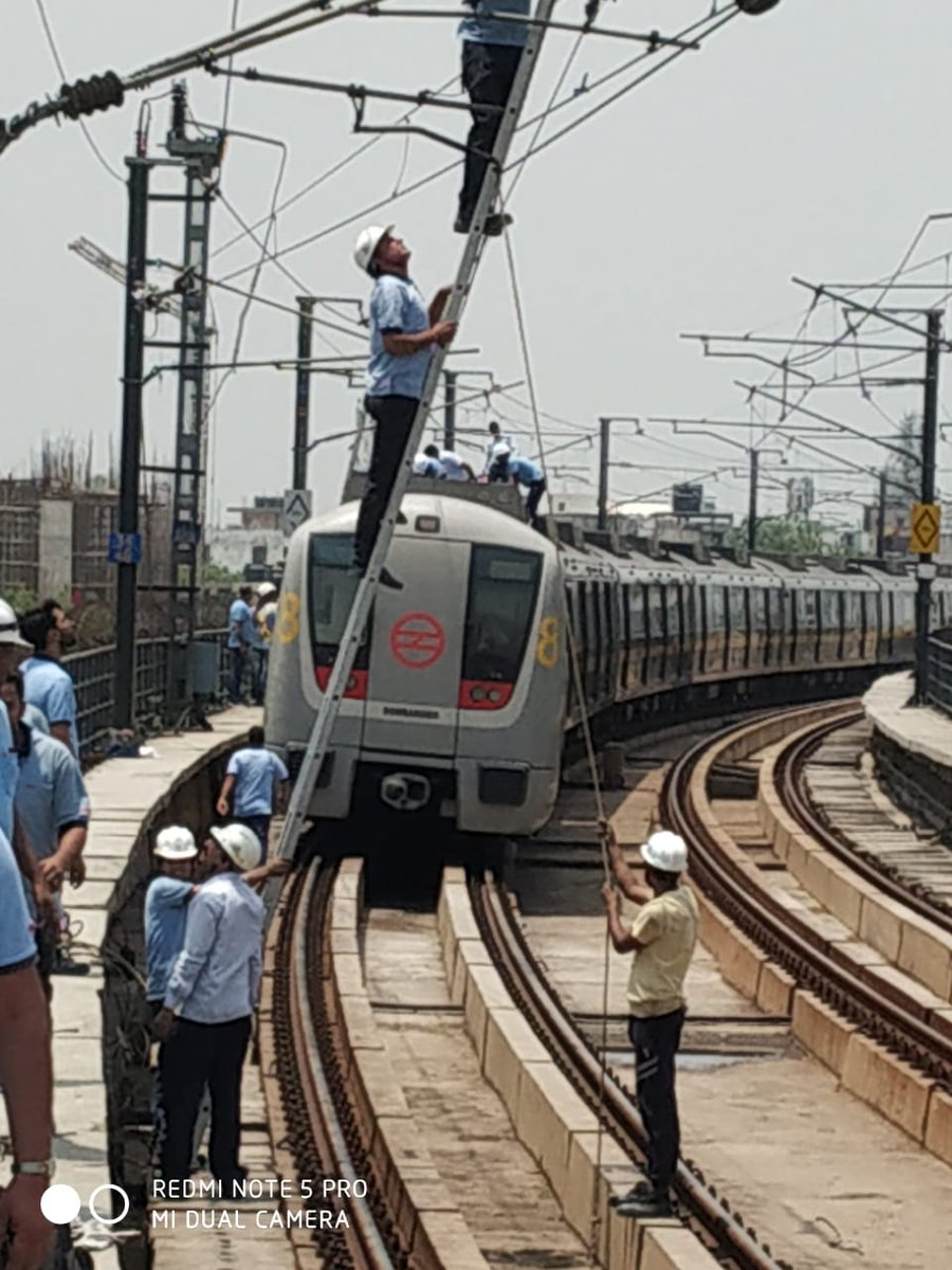 Two maintenance teams of DMRC technicians consisting of 16 officials worked urgently to rectify the problem. Temporary restoration has been completed and trains are expected to run at restricted speed between Chhattarpur and Qutub Minar soon.