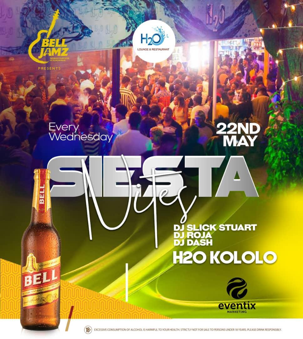 The official midweek party returns tomorrow 👊 #SiestaNitesAtH2O  Powered by @eventixM_ug and #BellJamz  See y'all de ✌