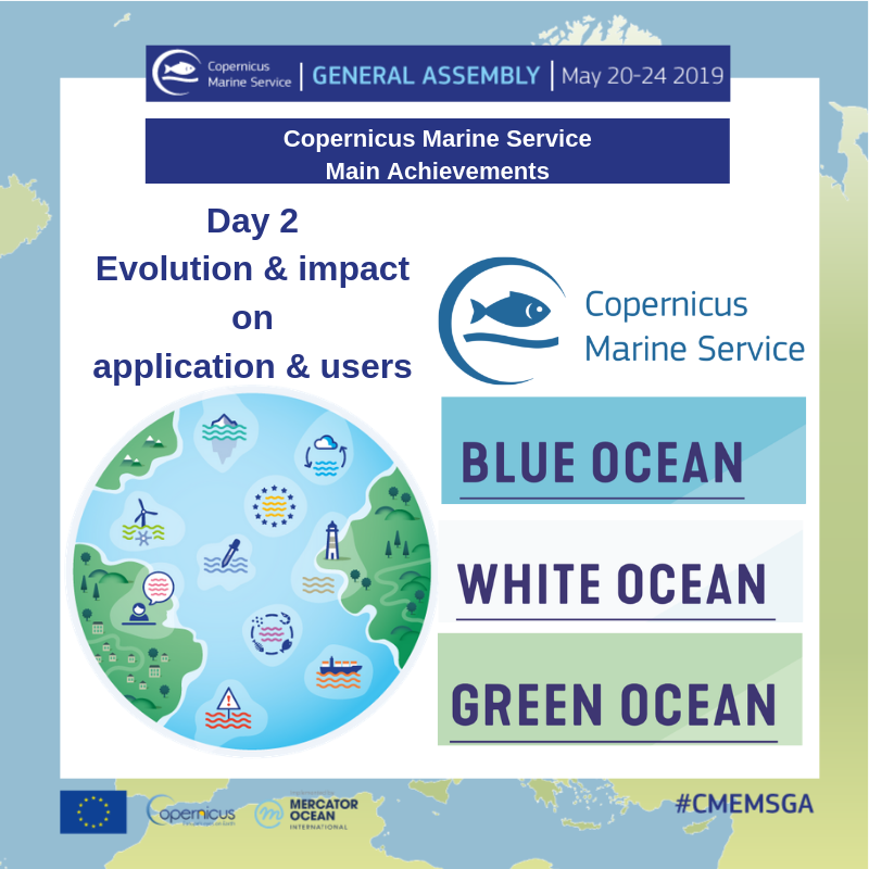 Welcome back to #CMEMS_GA in Brussels🇧🇪 Day 2 is dedicated to @Copernicus_EU #Marine Service main achievements. Analysing the evolution & impact on applications & users. #blueocean #whiteocean #greenocean