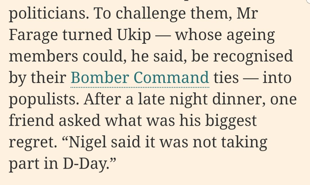 I wonder if the Nigel Farage whose greatest regret is not having been at D day is related to the one who threw a hissy fit when someone chucked half a milkshake over him.