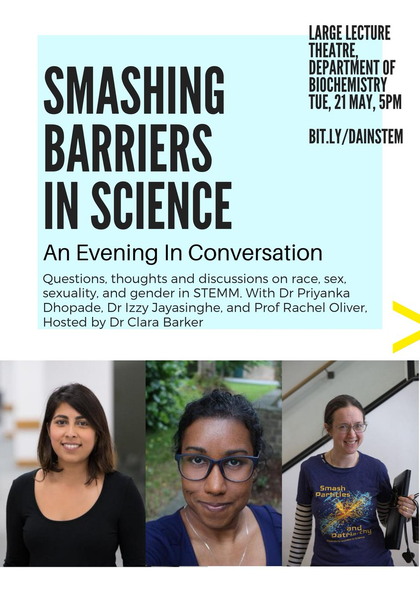 TONIGHT! 17:00 - 18:30, Oxford Biochemistry 🤜🏽🤜🏻 SMASHING BARRIERS IN SCIENCE 🤛🏿🤛🏾  Three 🌟amazing🌟 women in conversation with the excellent @ClaraMBarker. Sign up 👉 http://bit.ly/dainstem to hear and quiz Dr Priyanka Dhopade @oxengsci, Dr @i_jayas and @ProfRachelGaN 👊🌈👩🏽🔬