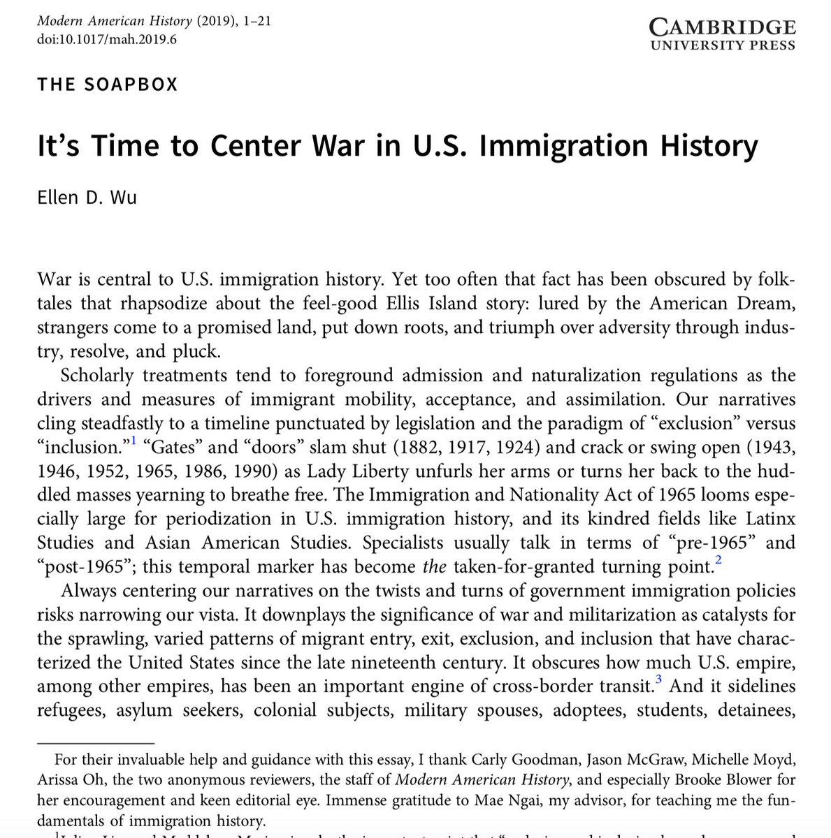 Friends: essay on #war + US #immigration history now up @MAH. Took this on to become better student/teacher of this urgent subject. Grateful 2 all whose work made this possible. Thx esp 2 Brooke Blower 4 her rigorous & supportive editing https://doi.org/10.1017/mah.2019.6 … #twitterstorians