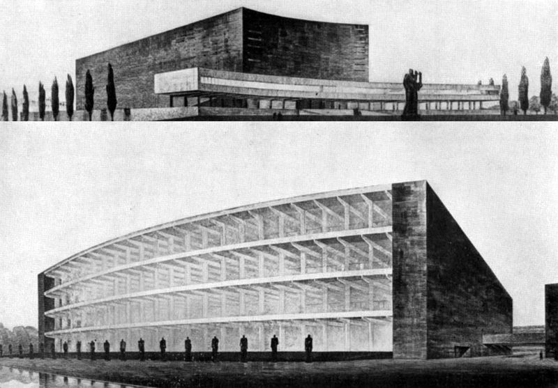 An unrealised 1935 proposal for a new concert hall in Rome to be built at the southern end of the Circus Maximus. A massive rationalist monolith awaiting its turn as a romantic ruin designed by Mario De Renzi, Adalberto Libera and Giuseppe Vaccaro. <br>http://pic.twitter.com/6aPkK5bXby