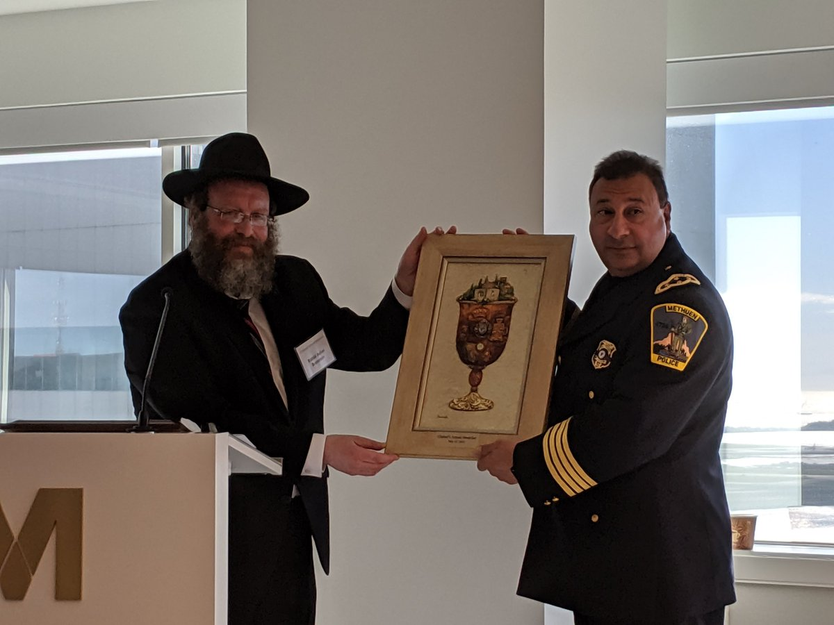 #Chabad of Merrimack Valley annual Law Enforcement breakfast takes on added importance this AM. Congrats & TY @MethuenPolice @ChiefSolomon @MassStatePolice Major Russolillo for your leadership & daily sacrifice to keep us safe. We need you now more than ever.