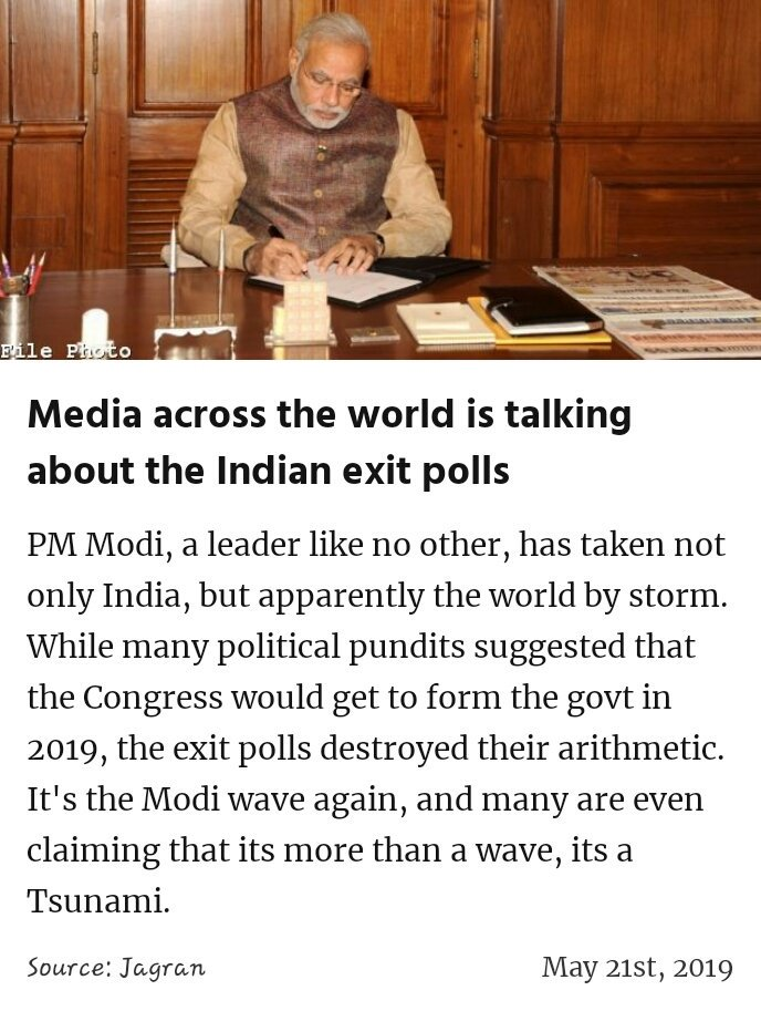 Media across the world is talking about the Indian exit polls  https://www.jagran.com/politics/national-india-narendra-modi-appears-headed-for-re-election-exit-polls-shows-jagran-special-19238859.html … #IsBaarPhirModi  #MeraVoteModiKo #MainBhiChowkidar #IsBaarNaMoPhirSe @narendramodi  #IndiaSaysNaMoAgain #VoteKar #PhirEKBaarModiSarkaar