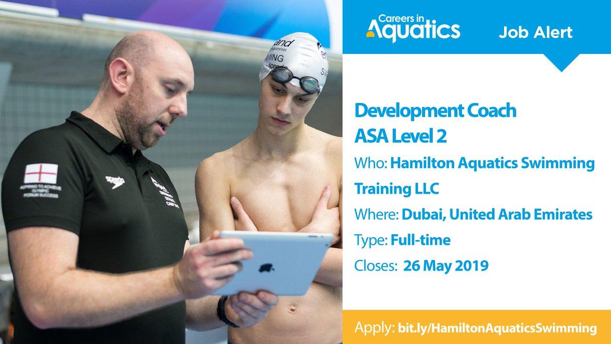 Job Alert | Level 2 qualified Development Coach needed by Hamilton Aquatics Swimming Training LLC in Dubai, United Arab Emirates. Applications close on Sunday so get yours in before it's too late.Closes: 26 MayApply: http://bit.ly/HamiltonAquaticsSwimming…