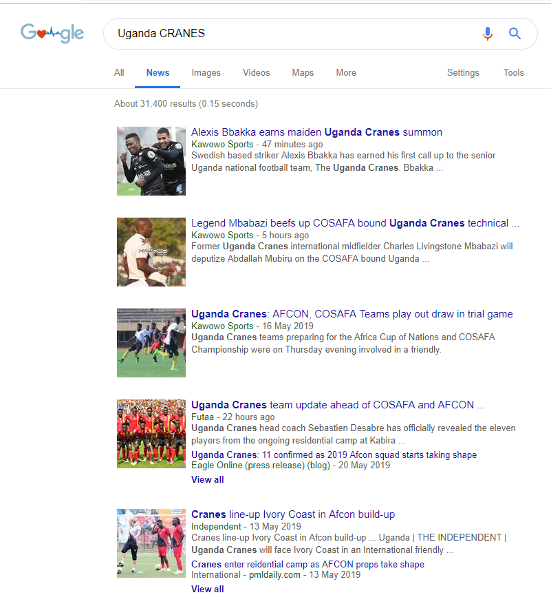 This morning @kawowosports is doing very well in GOOGLE with Uganda CRANES as the Key words. #UgandaUnited #UgandaCRANES