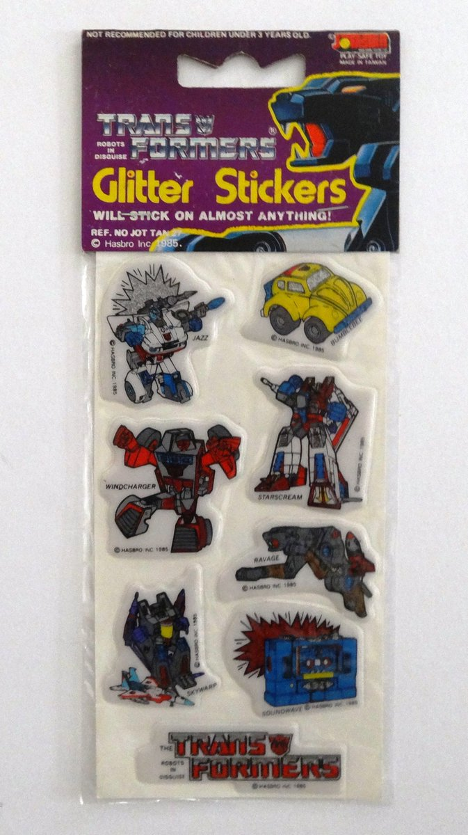 Glitter/Puffy Stickers by Jotastar, will stick on almost anything! Cards of 10 stickers pictured, larger cards of 13 stickers also available, Europe, approx 1985.  #transformers #g1
