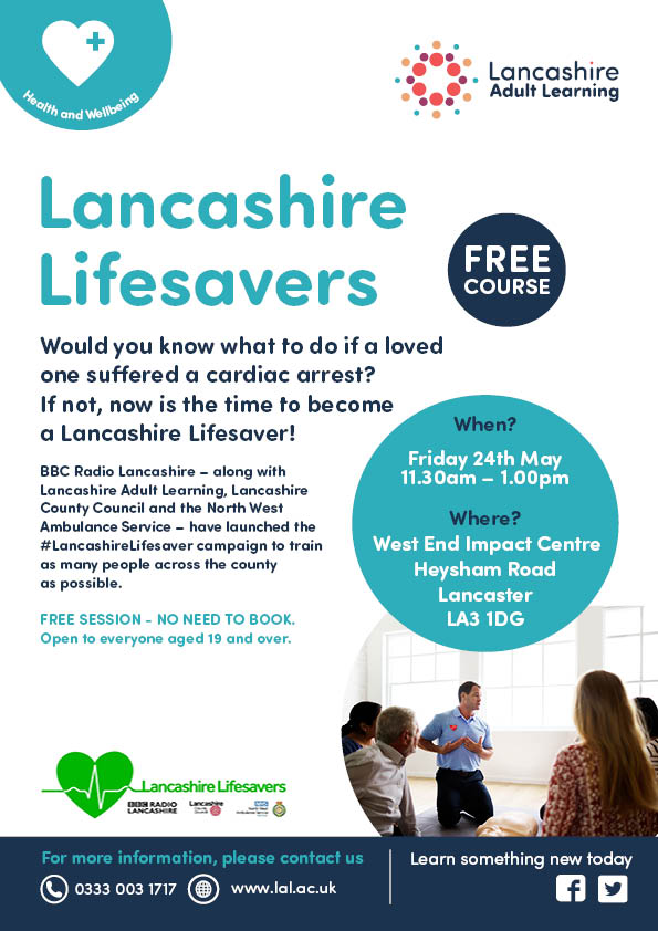 Free first aid in Morecambe, just come along on the day  #upskillingLancashire