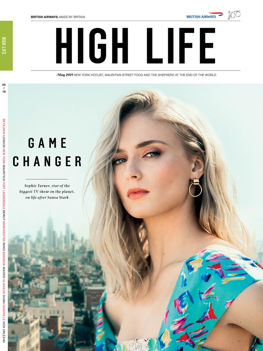 Actress @SophieT is the queen of our High Life magazine this month. Have you watched the finale yet?  #GOT
