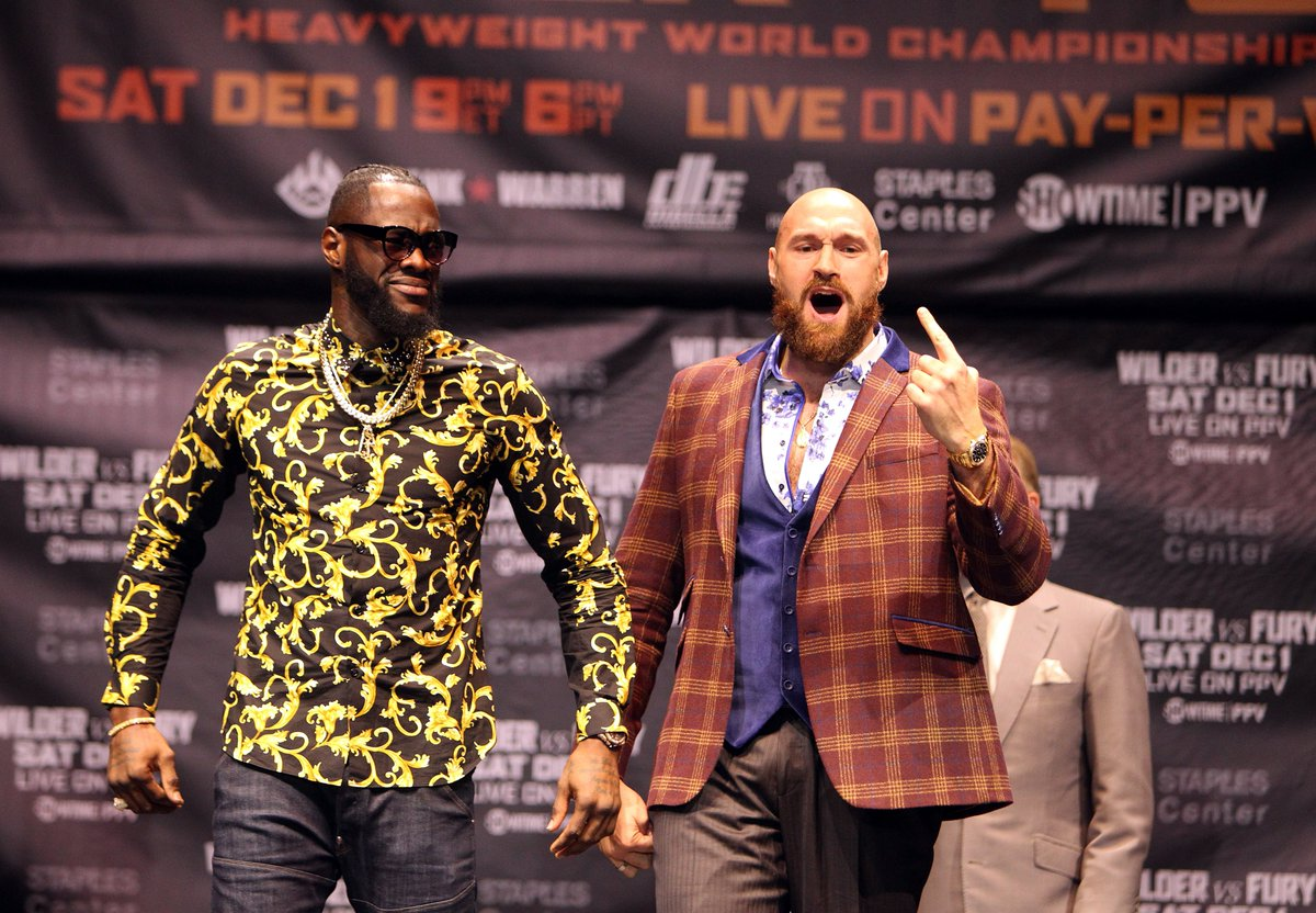 "Tyson Fury:   ""Deontay Wilder, suck my nuts. If you want to do anything about it b**ch, come and fight me. If he's got anything to say, come see me. We'll have a bare-knuckle fight for free in Times Square this evening.""  Fury&#39;s living on another planet isn&#39;t he. <br>http://pic.twitter.com/qVeHF1rDkY"