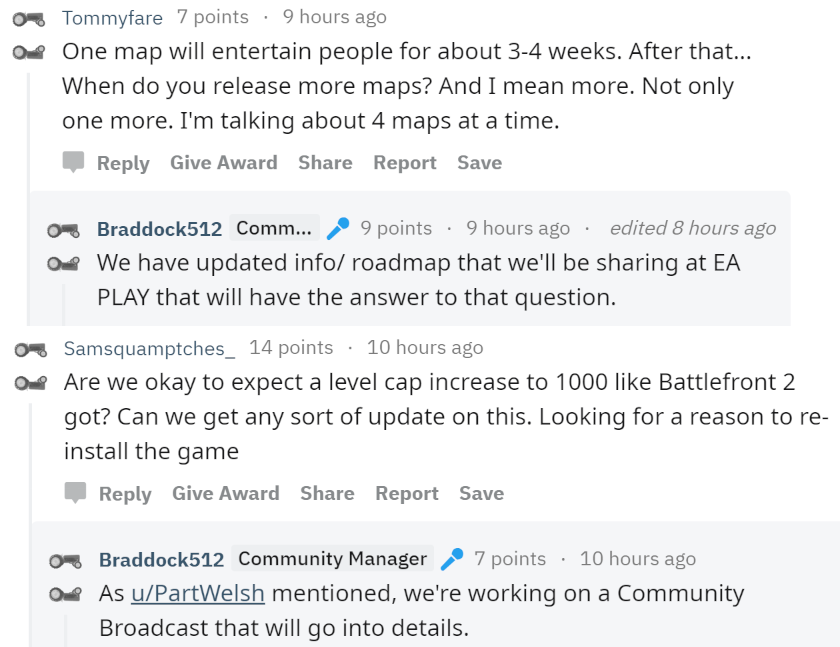 """NEWS: EA plans to share the next detailed information for coming #Battlefield V Chapters at #EAPLAY2019, and the roadmap will be updated accordingly.  They're also working on a """"Community Broadcast"""" that will go into details on a level cap increase in #Battlefield V. No ETA yet."""