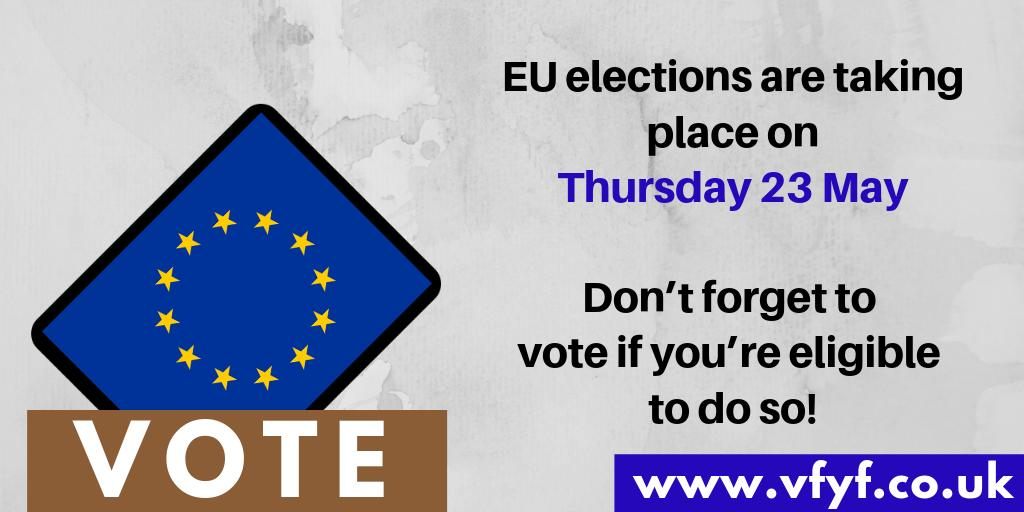 The European elections are taking place on Thursday 23 May 🗳️  Don't forget to vote if you're eligible to do so! https://www.vfyf.co.uk/    #voteforyourfuture