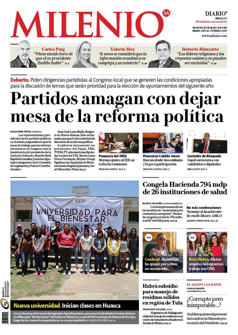 #FelizMartes Comienza el día con la mejor información de Hidalgo en la edición de #MILENIO de este 21 de mayo de 2019.
