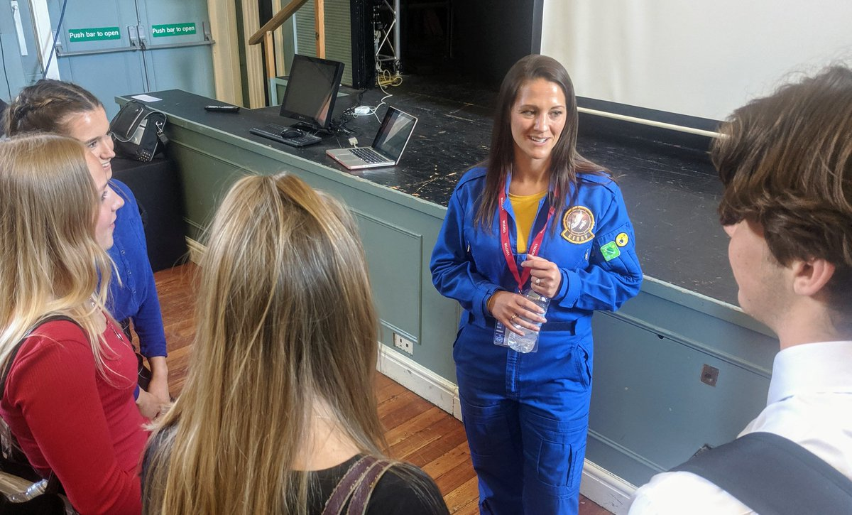 Flight Lieutenant Kerry Bennett (@Kerry_StarPilot) best known from BBC series 'Astronauts: Do you have what it takes?' inspires @BeechenSixth students with themes of dream big, hard work and never giving up when things don't go to plan.  Thank you Kerry.