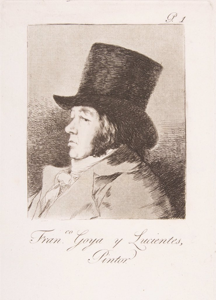 Day1️⃣8️⃣  Francisco de Goya, Self-portrait, 1799, etching with aquatint, 315x 213 mm,  Испанийн хамгийн бахархалт романтик зураач, сийлбэрч Гоя нь эртний Мастеруудын хамгийн сүүлчийнх, анхны модерн зураач юм. 1793 онд хүндээр өвчилж, дүлийрсэн ба уран бүтээл нь хурц ширүүн болсон